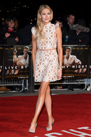 Stephanie Pratt was a cutie in a beige and white star-patterned crop-top at the London premiere of 'Live by Night.'