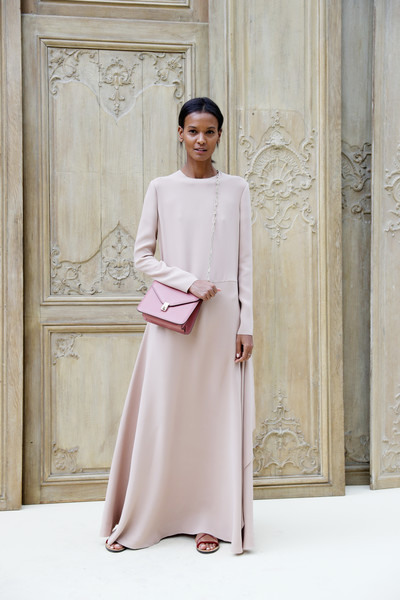 Liya Kebede Chain Strap Bag [valentino : outside photocall,clothing,white,dress,fashion model,fashion,pink,formal wear,gown,robe,beige,valentino,liya kebede,part,paris,france,paris fashion week womenswear spring,show]