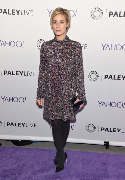 Liza Weil Beaded Dress [clothing,fashion,dress,footwear,fashion design,joint,cocktail dress,carpet,shoulder,tights,liza weil,paleylive,how to get away with murder,ny,the paley center for media]