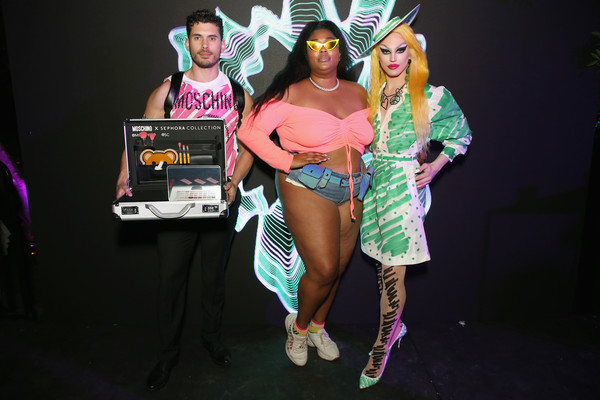 Lizzo Leather Sneakers [pink,costume,fashion,performance,event,party,cosplay,stage,games,performing arts,moschino,lizzo,r,c,aquaria,indio,california,sephora]