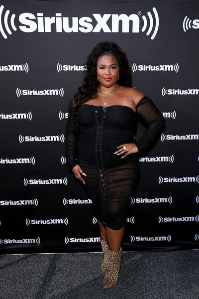 Lizzo Ankle Boots [clothing,dress,little black dress,shoulder,fashion,joint,cocktail dress,footwear,waist,shoe,lizzo,miami,florida,siriusxm,super bowl,lizzo,clothing,celebrity,shoe,dress,boot,stylebistro,sheer fabric]