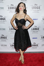 Karina Smirnoff looked coquettish in a black lace corset dress at the Lodge Social Club Global Love launch.