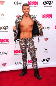 Perez Hilton looked ready for battle in his edgy suit and lace-up boots at the 2012 NewNowNext Awards.