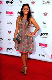 La La Anthony wore a sexy pair of clear and black pumps with ankle ties at the 2012 NewNowNext Awards.