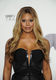 Laverne Cox stuck to her signature long center-parted waves when she attended the Logo TV Trailblazers event.