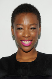 Samira Wiley's beauty look totally popped with this bright pink lip color during the Logo TV Trailblazers event.