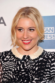 Greta Gerwig's center-parted loose updo at the 'Lola Versus' premiere had a vintage-y feel.