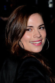 Hayley Atwell wore a sheer shimmery hot pink lipstick at the 2012 British Film Awards.