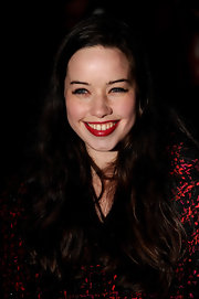 Anna Popplewell wore a glossy crimson lipstick at the 2012 British Film Awards.