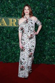 Ruth Wilson went the ultra-girly route in a floral cold-shoulder gown by Erdem at the London Evening Standard Theatre Awards.