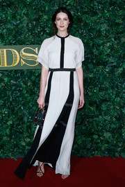 Caitriona Balfe was minimalist-chic in a short-sleeve black-and-white Burberry gown at the London Evening Standard Theatre Awards.