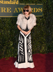 Anna Wintour opted for a black-and-white tribal-print gown by Maison Margiela Couture for the London Evening Standard Theatre Awards.