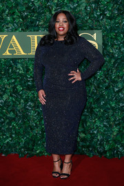 Amber Riley sparkled like a starry night in this micro-beaded navy dress at the London Evening Standard Theatre Awards.
