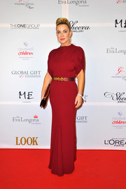 Meg Matthews looked ultra classy in a high-neck red evening dress during the London Global Gift Gala.