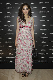Araya A. Hargate went the sweet route in a star-and-flower-print ruffle dress during the Longchamp cocktail party.