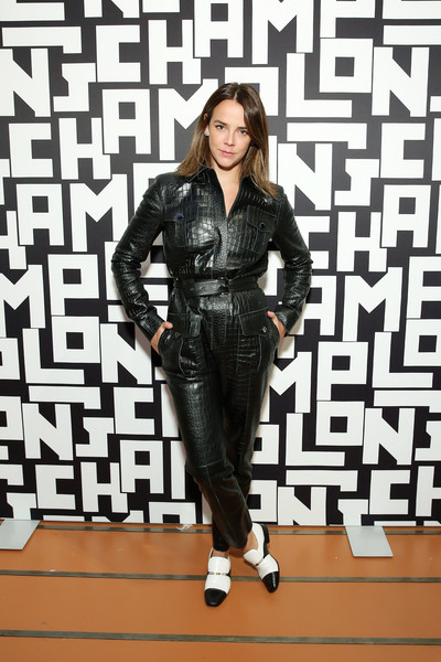 Pauline Ducruet teamed her jumpsuit with black-and-white leather slip-ons.