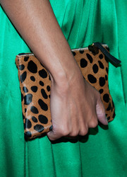 Bianca Lawson styled her plain green dress with an animal-print clutch when she attended the LA Confidential pre-Emmy celebration.