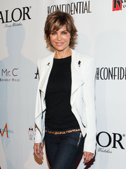Lisa Rinna kept it casual yet smart at the Pre-Emmy kick-off event in a white blazer layered over jeans and a tee.