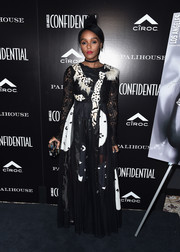 Janelle Monae looked like an abstract work of art in a black-and-white mixed-media gown by Antonio Marras at the Los Angeles Confidential Spring Oscars issue celebration.