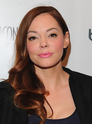 Rose McGowan wore a lovely, shiny shade of bubblegum pink lipstick at 'Los Angeles Confidential' magazine's mens' issue cover party.