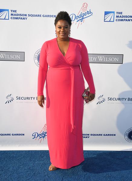 Adrienne C. Moore was a standout in her hot-pink wrap gown at the Blue Diamond Gala.