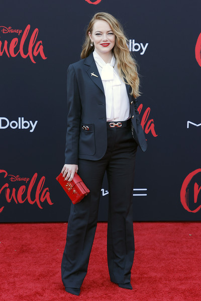Emma Stone went for a business-chic vibe in a black Louis Vuitton pantsuit at the Los Angeles premiere of 'Cruella.'