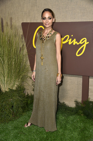 More Pics of Nicole Richie Maxi Dress (1 of 8) - Nicole Richie Lookbook - StyleBistro [clothing,formal wear,dress,green,yellow,fashion,fashion design,gown,event,haute couture,series,arrivals,nicole richie,camping,california,hollywood,los angeles premiere of hbo,paramount studios]
