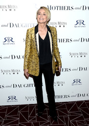 Sharon Stone channeled her inner rock star in a gold snakeskin-print jacket for the premiere of 'Mothers and Daughters.'