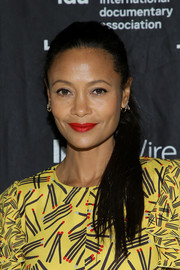 Thandie Newton swept her hair back into a classic ponytail for the special screening of 'Liyana.'