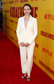 Elizabeth Olsen kept it simple and classic in a white pantsuit by Dior at the special screening of 'Kodachrome.'