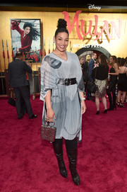 Jordin Sparks attended the world premiere of 'Mulan' wearing a gray portrait-print dress.