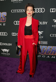 Evangeline Lilly was elegantly suited up in this red Denis Gagnon jacket and pants combo at the world premiere of 'Avengers: Endgame.'