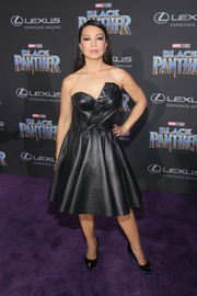 Ming-Na Wen worked a strapless leather dress with a sculpted bodice at the world premiere of 'Black Panther.'