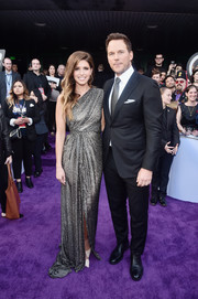 Katherine Schwarzenegger shimmered in a draped silver one-shoulder gown by Monique Lhuillier at the world premiere of 'Avengers: Endgame.'