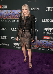 Pom Klementieff opted for power suiting with this bronze and black tweed look by Chanel when she attended the world premiere of 'Avengers: Endgame.'