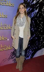 Leire Martinez opted for a pair of mid-calf suede boots to wear for a photocall.