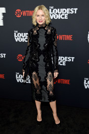 Naomi Watts looked alluring in an Erdem LBD with sequin and lace panels at the New York premiere of 'The Loudest Voice.'