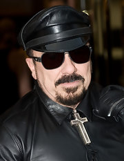 Peter finished off his edgy biker look with black round sunglasses.