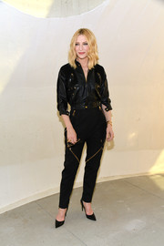 Cate Blanchett continued the edgy vibe with a pair of zip-embellished trousers, also by Louis Vuitton.