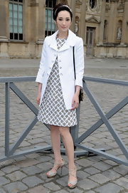 Pace Wu Pei Ci mixed funky with classic with this checkered dress at the Louis Vuitton runway show.