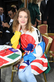 Natalia Vodianova embraced color with this graphic button-down at the Louis Vuitton Menswear show.