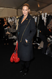 Bar was spotted backstage at Louis Vuitton in a crisp military inspired coat.