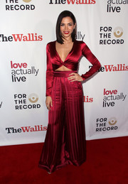 Jenna Dewan was red-hot in a plunging satin crop-top by Adriana Iglesias at the 'Love Actually Live' opening night reception.'