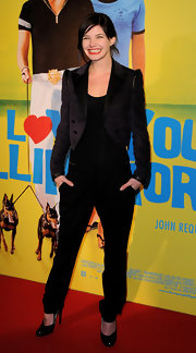 Delphine Chaneac attended the Paris screening of 'I Love You Philip Morris' wearing a nice cropped suede jacket.