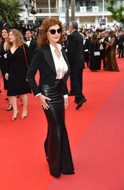 Susan Sarandon layered a cropped tux jacket by Chanel over a silk button-down for the Cannes Film Festival screening of 'Loveless.'