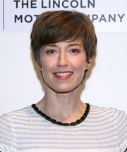 Carrie Coon looked youthful with her emo bangs at the Tribeca Film Festival premiere of 'The Lovers.'