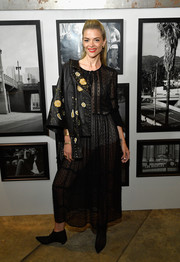 Jaime King styled her dress with a studded and floral-embroidered leather jacket by Lucky Brand.