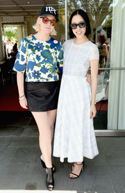 Eva Chen looked breezy in a white dress featuring a subtle plaid pattern during the Lucky FABB conference.