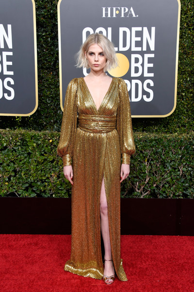 Lucy Boynton Wrap Dress [red carpet,carpet,clothing,dress,premiere,hairstyle,flooring,fashion,blond,event,arrivals,lucy boynton,the beverly hilton hotel,beverly hills,california,golden globe awards]