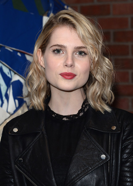 Lucy Boynton Medium Wavy Cut [weinstein company hosts the premiere of ``sing street,hair,face,blond,hairstyle,eyebrow,lip,beauty,long hair,leather,layered hair,lucy boynton,of sing street,new york city,the weinstein company,hotel indigo,party,party]